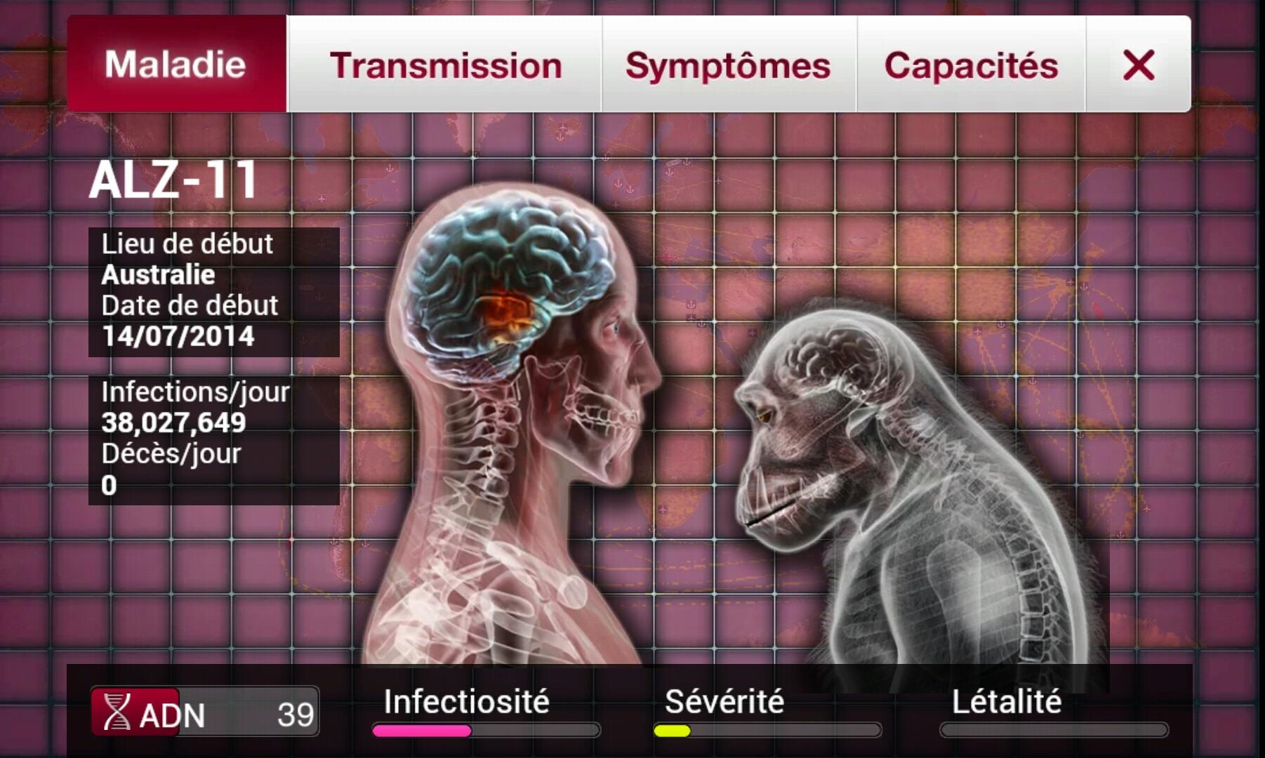 Etat du virus dans Plague Inc.