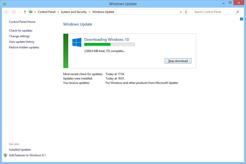 Windows 10 fenetre de telechargement windows update