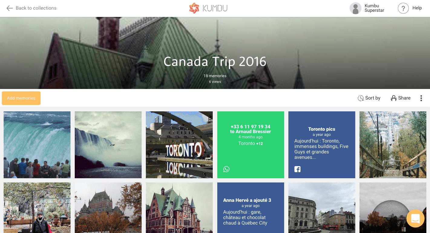 Capture d'écran du site Kumbu qui permet de sauvegarder ses souvenirs numériques